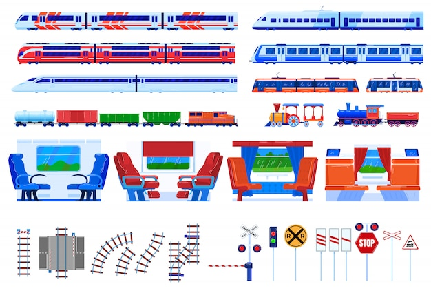 Train railway transportation vector illustration set.
