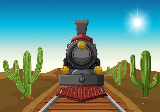 사막 중간에 기차를 타고
