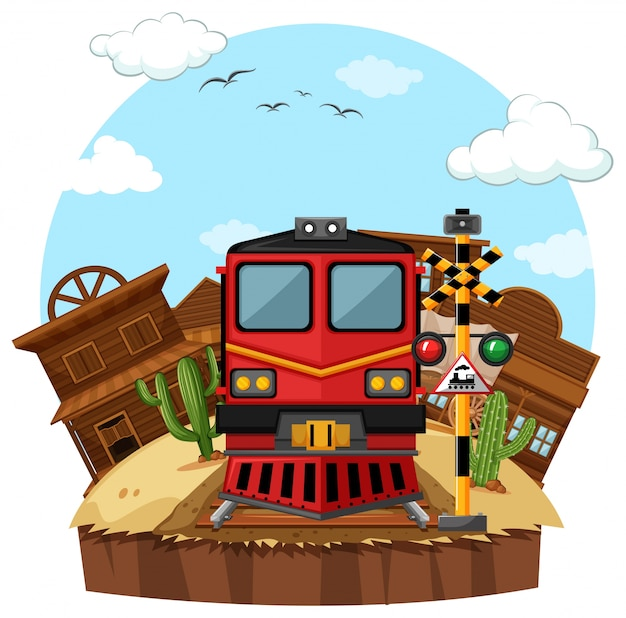 서부 마을에서 기차를 타고