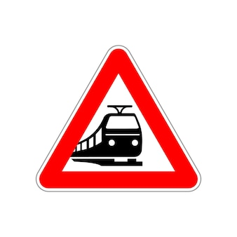Train silhouette on the triangle red and white road sign isolated on white