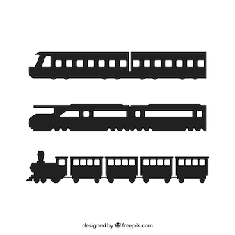 Train silhouettes set