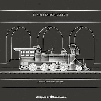 역에서 기차 스케치