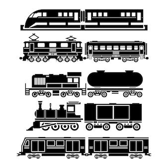 Поезд, поезд, набор иконок метро. символы пассажирского и общественного транспорта. транспортные поездки, движение автотранспорта,
