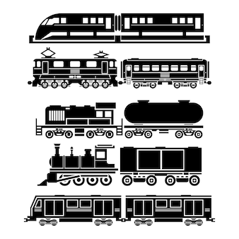 Train, sky train, subway icons set. passenger and public transport symbols. transportation travel, vehicle traffic,
