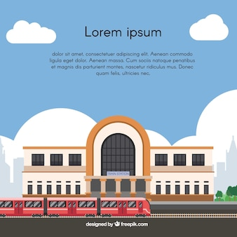 Train station background in flat design