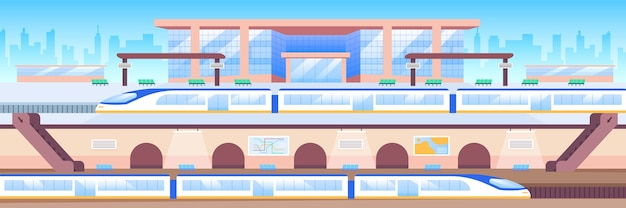 Train station flat color illustration