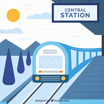 Train station in flat design background