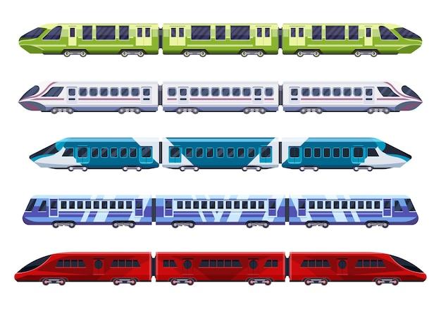 Train or subway rail wagons, railway transport modern flat.