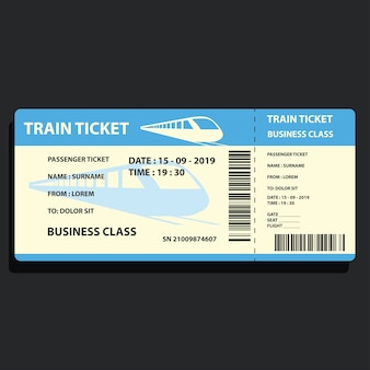 Train ticket for traveling by train