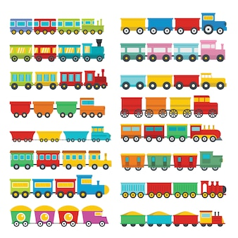 Train toy children icons set