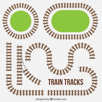Train track collection with grass