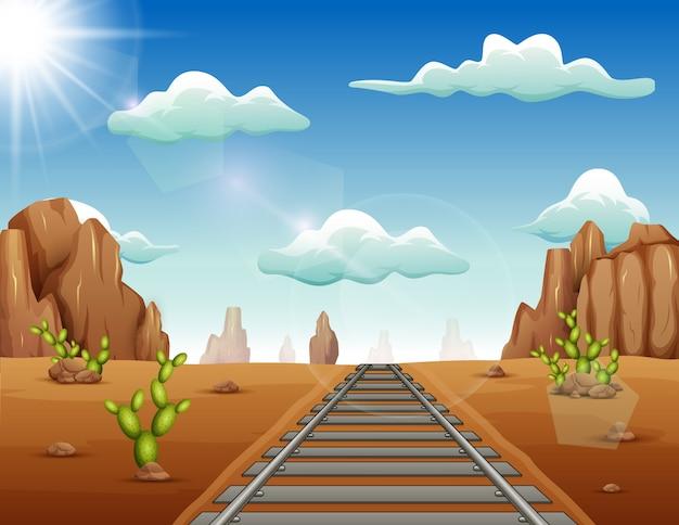 와일드 웨스트 배경에서 기차 트랙