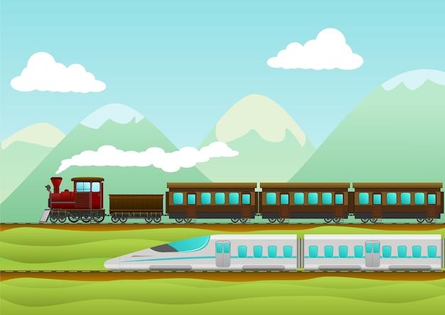 Train travel creative vector illustration