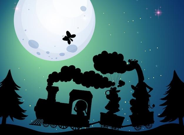 Train travel at night silhouette scene
