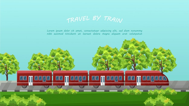 Train traveling on green background