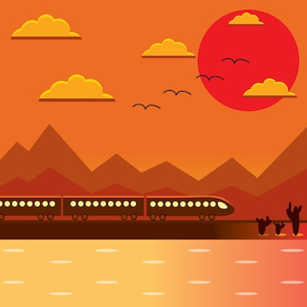 Train vector flat creative illustration, lake, cactus, mountains, orange background, sun, birds in the sky, landscape, panoramic view, for posters and covers