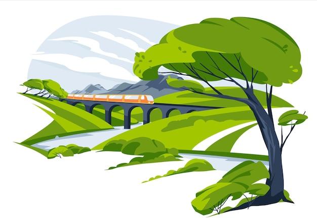 山の平らな風景と丘の牧草地の間の列車の高架橋