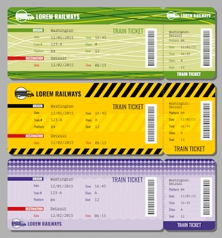 Train vintage travel tickets set