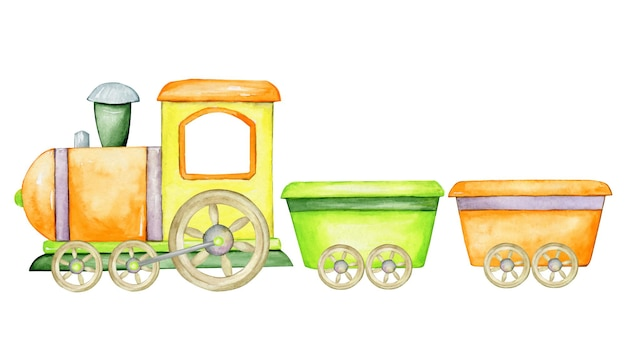 Train and wagons, colorful, cartoon-style  . watercolor clip art  .