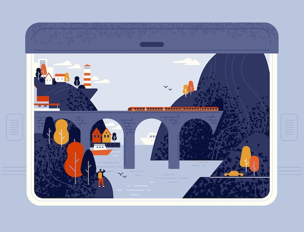 Вид из окна поезда на приморский город, море, маяк, скалы и железнодорожный мост
