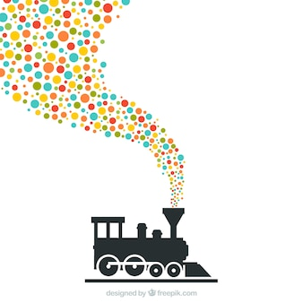 Train with colorful dots