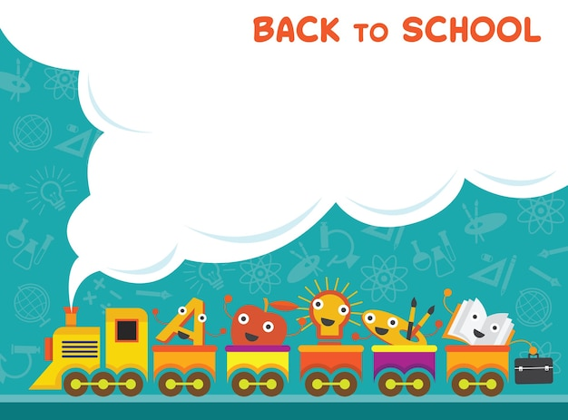 Train with education characters back to school background