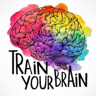 あなたの脳を訓練します。人間の脳と動機付けの引用と美しいカード。手描きイラスト