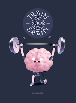 Train your brain character with lettering, weightlifting