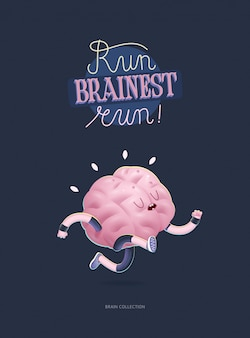 Train your brain poster with lettering, running