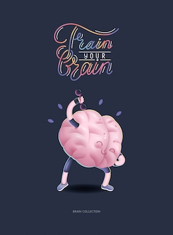 Train your brain poster with lettering