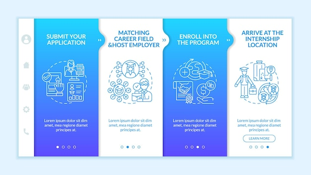 Traineeship abroad strategy onboarding vector template. responsive mobile website with icons. web page walkthrough 4 step screens. arrive at internship location color concept with linear illustrations