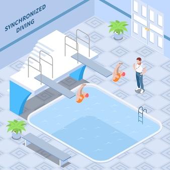 Тренер и девушки-спортсменки в красных купальниках во время синхронных прыжков в воду изометрической композиции