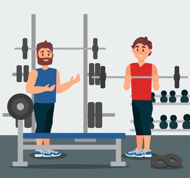 트레이너는 젊은 남자와 훈련 세션을 보유하고 있습니다. 바벨으로 운동을하는 사람. 배경에 체육관 장비입니다. 평면 디자인