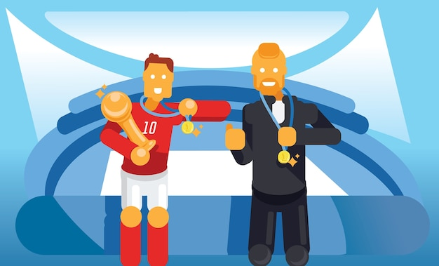 Trainer and soccer player celebrate with trophy and winner coin