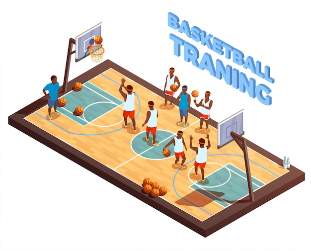 Training basketball isometric composition