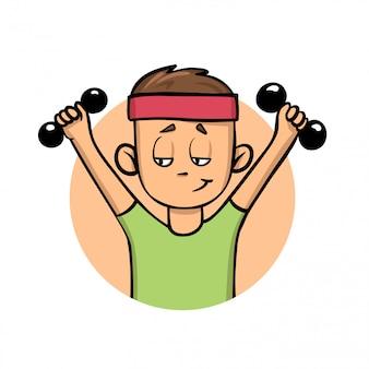 ダンベルのトレーニング少年。アクティブなライフスタイル。漫画のアイコン。図。白い背景の上。