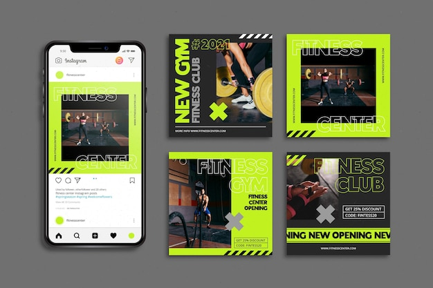 Training center instagram posts template
