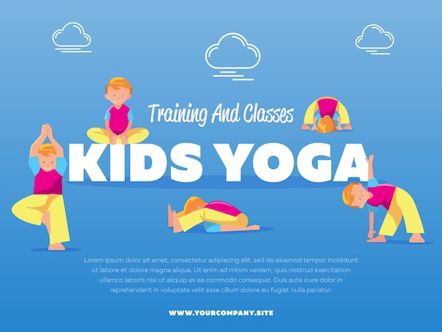 Training and classes kids yoga template