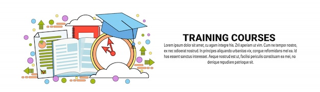 Training courses business education concept horizontal banner template