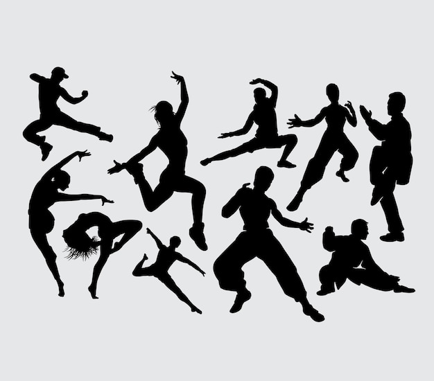 Training dance and kungfu sport silhouette