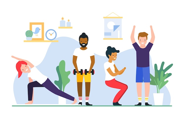 Free Vector | Friends doing exercises of fitness at home