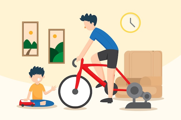 Training at home on new normal illustration
