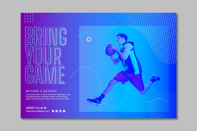 Training horizontal banner template with photo