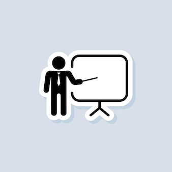 Training, presentation sticker. business presentation icons. contains the presenter. teacher icon. practice. seminar sign. vector on isolated background. eps 10.