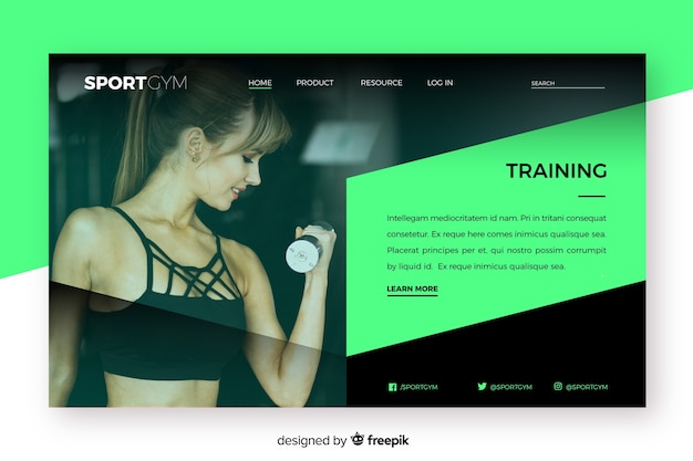 Training sport landing page with photo
