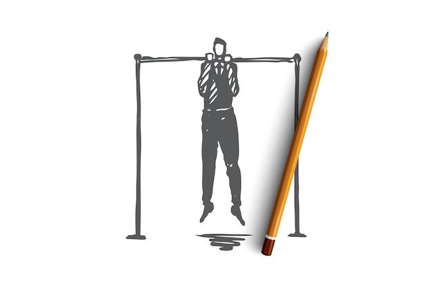 トレーニング、教育、ビジネス、開発、専門的な概念。ビジネストレーニングの概念スケッチのシンボルとして手描きの演習。