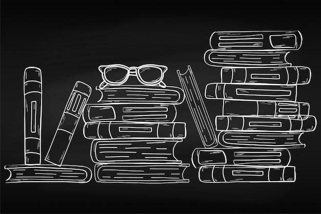 Повышение квалификации. всемирный день книги. апрель. знания. чтение. мир. для вашего дизайна. простынь. меловая доска. школа.
