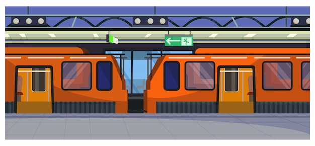 Trains at railway station illustration