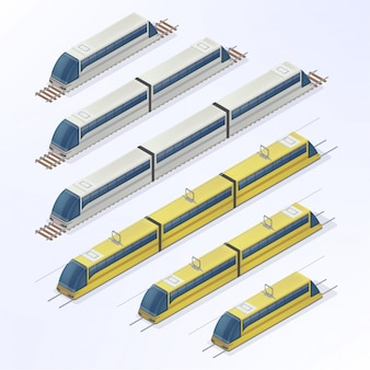 Trains and trams isometric set. modern urban passenger transportation