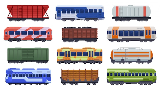 Trains transportation. passenger and freight trains, steam train, goods high speed trains. subway underground train  illustration icons set. cargo fast underground van for goods coal and wood